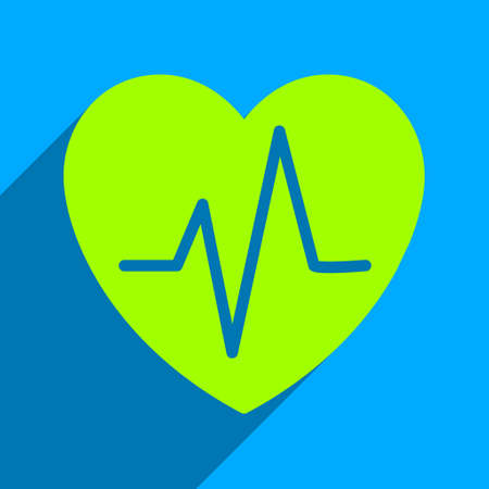 heart ecg trace: Heart Ekg long shadow vector icon. Style is a flat heart ekg iconic symbol on a blue square background. Illustration