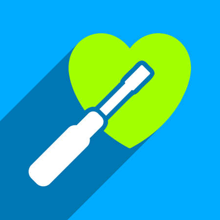 Heart Tuning long shadow vector icon. Style is a flat heart tuning iconic symbol on a blue square background.