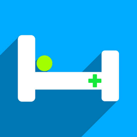 iconic: Hospital Bed long shadow vector icon. Style is a flat hospital bed iconic symbol on a blue square background. Illustration