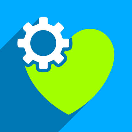 configure: Heart Surgery long shadow vector icon. Style is a flat heart surgery iconic symbol on a blue square background. Illustration