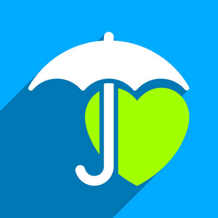 iconic: Heart Umbrella Protection long shadow vector icon. Style is a flat heart umbrella protection iconic symbol on a blue square background.