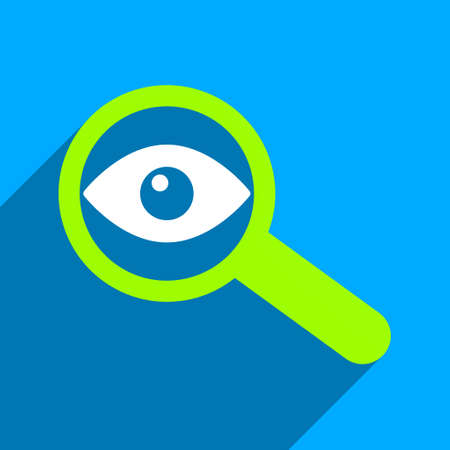 overlook: Investigate Vision long shadow vector icon. Style is a flat investigate vision iconic symbol on a blue square background.