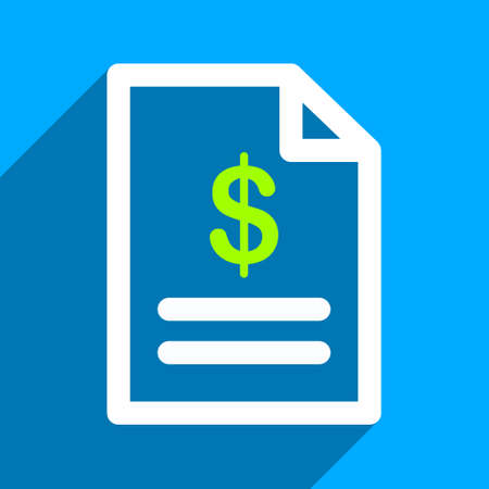 INVOICE: Invoice Page long shadow vector icon. Style is a flat invoice page iconic symbol on a blue square background. Illustration