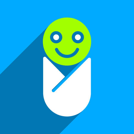 swaddling clothes: Infant long shadow vector icon. Style is a flat infant iconic symbol on a blue square background.