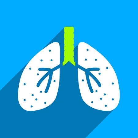 autopsy: Lungs long shadow vector icon. Style is a flat lungs iconic symbol on a blue square background.