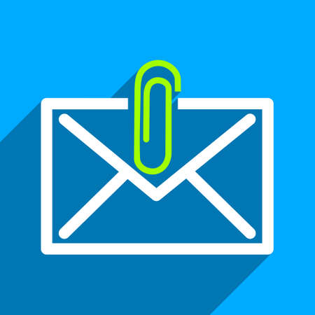 Mail Attachment long shadow vector icon. Style is a flat mail attachment iconic symbol on a blue square background. Illustration