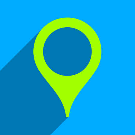 iconic: Map Marker long shadow vector icon. Style is a flat map marker iconic symbol on a blue square background. Illustration