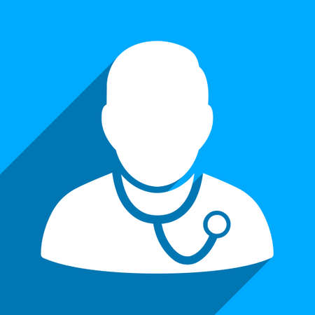 orderly: Medic long shadow vector icon. Style is a flat medic iconic symbol on a blue square background.