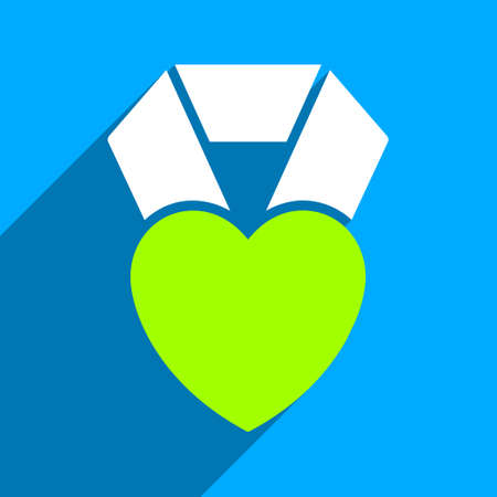 medal like: Heart Award long shadow vector icon. Style is a flat heart award iconic symbol on a blue square background. Illustration
