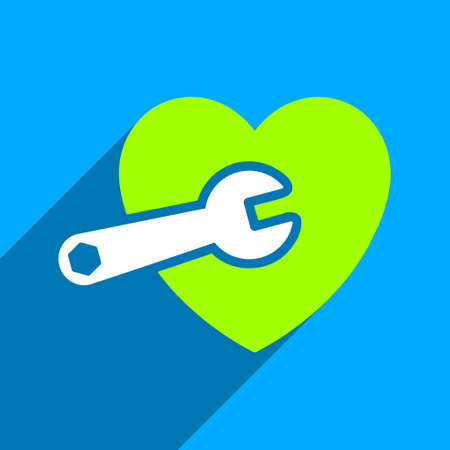 heart surgery: Heart Surgery long shadow vector icon. Style is a flat heart surgery iconic symbol on a blue square background. Illustration