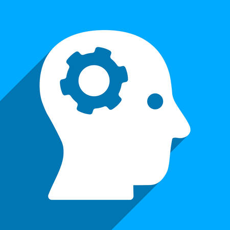robo: Intellect Mechanism long shadow vector icon. Style is a flat intellect mechanism iconic symbol on a blue square background. Illustration