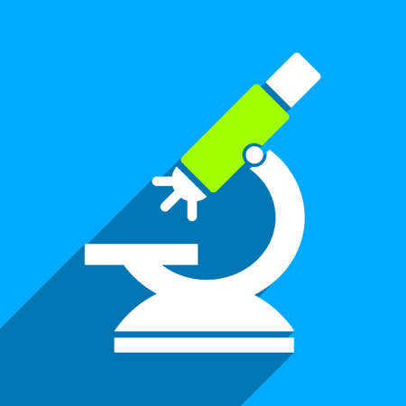 microscope lens: Labs Microscope long shadow vector icon. Style is a flat labs microscope iconic symbol on a blue square background.