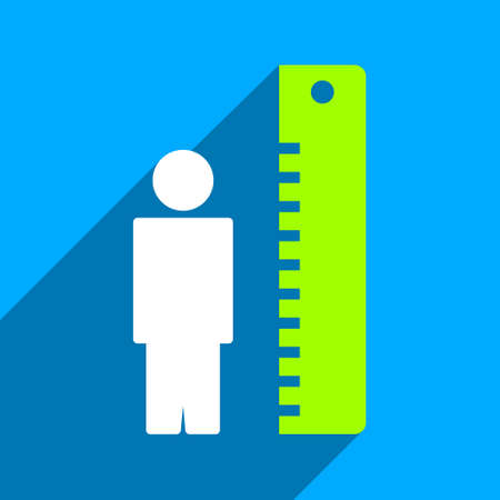 tall man: Man Height Meter long shadow vector icon. Style is a flat man height meter iconic symbol on a blue square background. Illustration