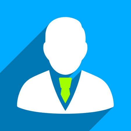 Manager long shadow vector icon. Style is a flat manager iconic symbol on a blue square background. Vettoriali