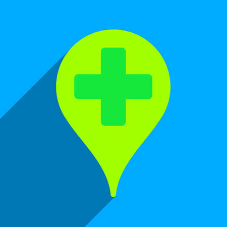 map marker: Medical Map Marker long shadow vector icon. Style is a flat medical map marker iconic symbol on a blue square background.