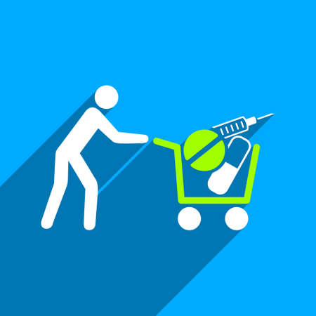 emergency cart: Medical Shopping Cart long shadow vector icon. Style is a flat medical shopping cart iconic symbol on a blue square background.