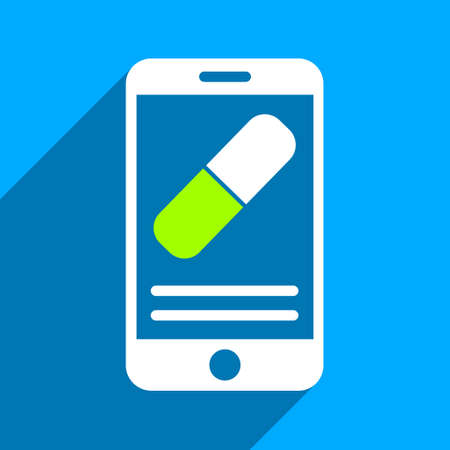 medication: Medication Mobile Information long shadow vector icon. Style is a flat medication mobile information iconic symbol on a blue square background.