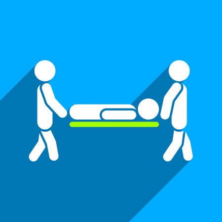 medics: Medics Carry the Patient long shadow vector icon. Style is a flat medics carry the patient iconic symbol on a blue square background.