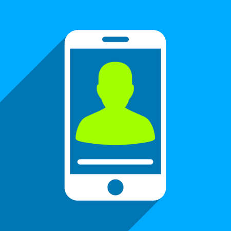 pda: Mobile Contact long shadow vector icon. Style is a flat mobile contact iconic symbol on a blue square background.