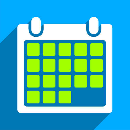iconic: Month Calendar long shadow vector icon. Style is a flat month calendar iconic symbol on a blue square background.