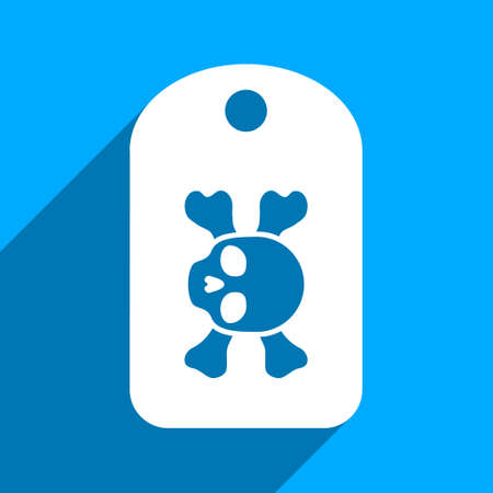 iconic: Morgue Mark long shadow vector icon. Style is a flat morgue mark iconic symbol on a blue square background. Illustration