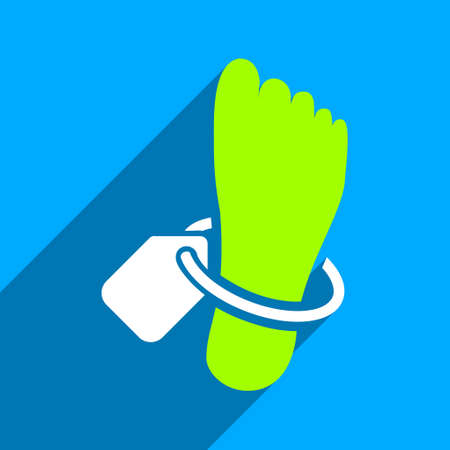 mortuary: Mortuary Foot Tag long shadow vector icon. Style is a flat mortuary foot tag iconic symbol on a blue square background.