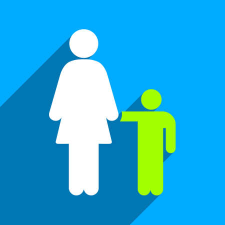 mom and son: Mother With Son long shadow vector icon. Style is a flat mother with son iconic symbol on a blue square background. Illustration