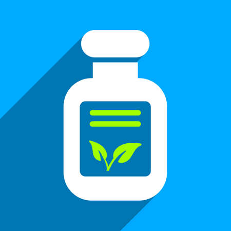 phial: Natural Drugs long shadow vector icon. Style is a flat natural drugs iconic symbol on a blue square background. Illustration