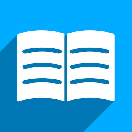 iconic: Open Book long shadow vector icon. Style is a flat open book iconic symbol on a blue square background.