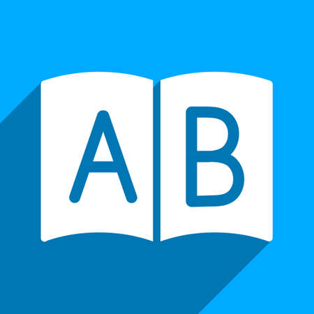 handbook: Open Handbook long shadow vector icon. Style is a flat open handbook iconic symbol on a blue square background. Illustration