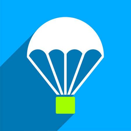 fallschirm: Parachute langen Schatten Vektor-Symbol. Style ist ein flaches Fallschirm ikonische Symbol auf einem blauen Quadrat Hintergrund.