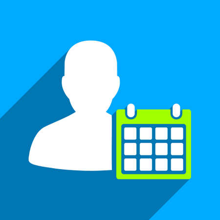time account: Patient Calendar long shadow vector icon. Style is a flat patient calendar iconic symbol on a blue square background. Illustration