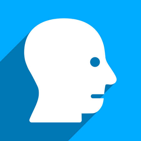 iconic: Patient Head long shadow vector icon. Style is a flat patient head iconic symbol on a blue square background.
