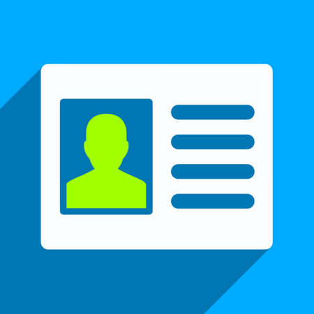 permission: Patient Account long shadow vector icon. Style is a flat patient account iconic symbol on a blue square background.