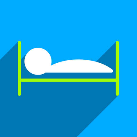 patient bed: Patient Bed long shadow vector icon. Style is a flat patient bed iconic symbol on a blue square background. Illustration