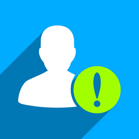 iconic: Patient Problem long shadow vector icon. Style is a flat patient problem iconic symbol on a blue square background.