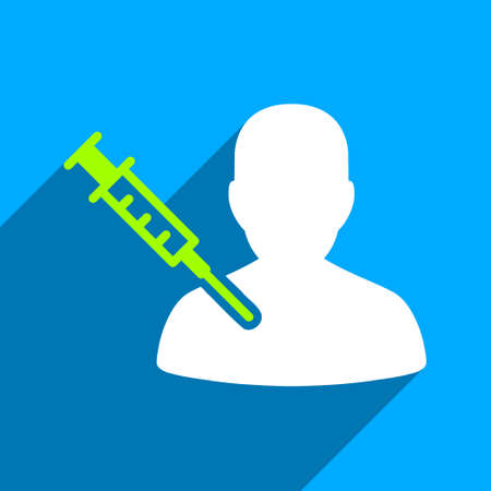 drug user: Patient Vaccination long shadow vector icon. Style is a flat patient vaccination iconic symbol on a blue square background.