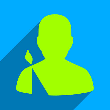 persona: Patient long shadow vector icon. Style is a flat patient iconic symbol on a blue square background.