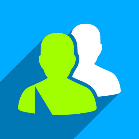 patients: Patients long shadow vector icon. Style is a flat patients iconic symbol on a blue square background.