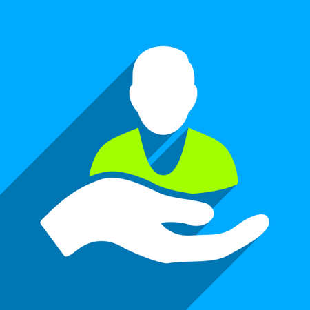 iconic: Person Assistance long shadow vector icon. Style is a flat person assistance iconic symbol on a blue square background.