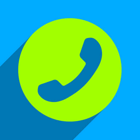 phone number: Phone Number long shadow vector icon. Style is a flat phone number iconic symbol on a blue square background. Illustration