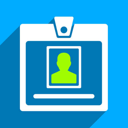 Person Badge long shadow vector icon. Style is a flat person badge iconic symbol on a blue square background.