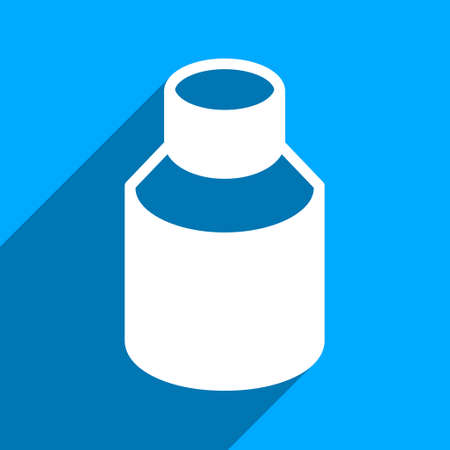 phial: Phial long shadow vector icon. Style is a flat phial iconic symbol on a blue square background. Illustration