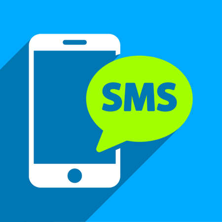 short message service: Phone SMS long shadow vector icon. Style is a flat phone sms iconic symbol on a blue square background. Illustration
