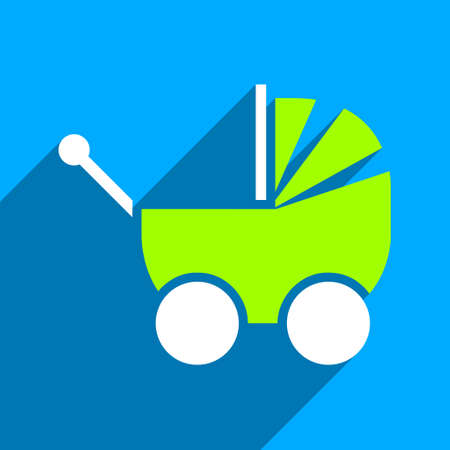 waggon: Pram long shadow vector icon. Style is a flat pram iconic symbol on a blue square background.