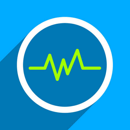heart ecg trace: Pulse Monitoring long shadow vector icon. Style is a flat pulse monitoring iconic symbol on a blue square background.