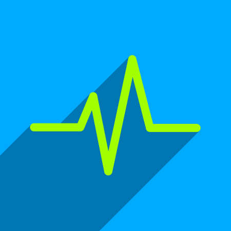 heart ecg trace: Pulse long shadow vector icon. Style is a flat pulse iconic symbol on a blue square background.