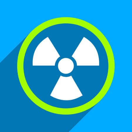 uranium: Radiation Danger long shadow vector icon. Style is a flat radiation danger iconic symbol on a blue square background. Illustration