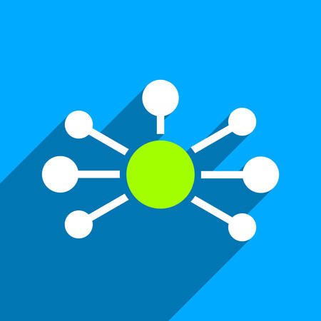 distribute: Relations long shadow vector icon. Style is a flat relations iconic symbol on a blue square background. Illustration