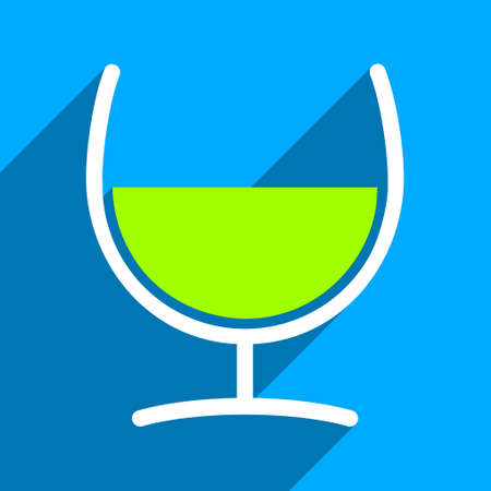 remedy: Remedy Glass long shadow vector icon. Style is a flat remedy glass iconic symbol on a blue square background. Illustration